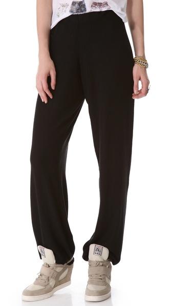 Wildfox Women/'s Fame Zip-Trim Soft Sweatpants dark Grey M limited fitted new