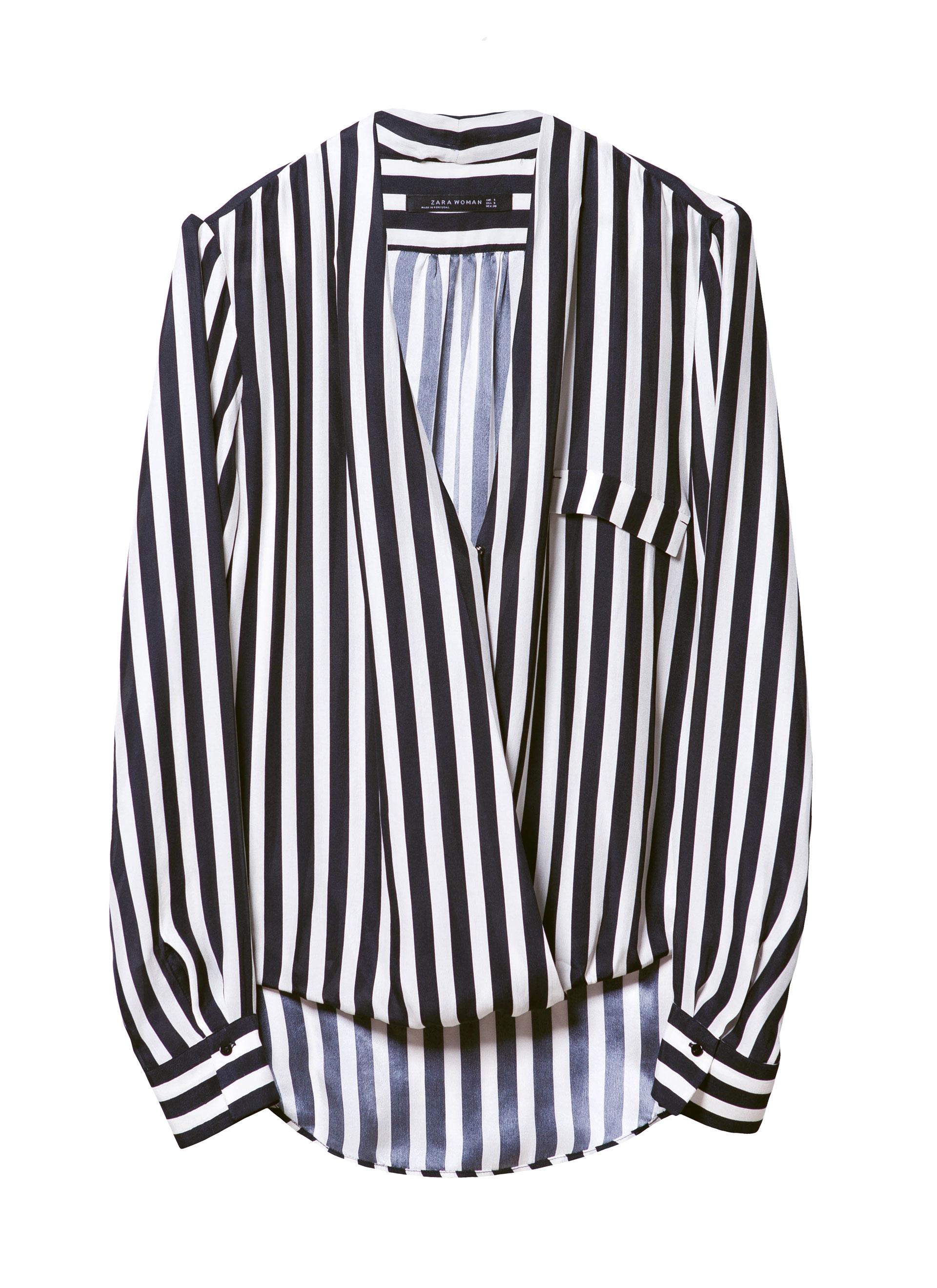Zara Striped Wrap Blouse In White Lyst