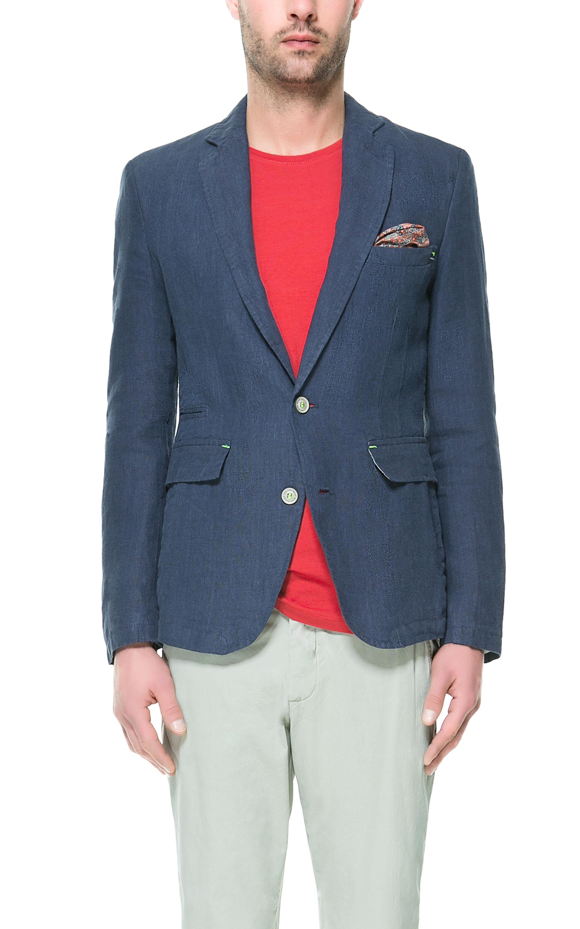 zara linen blazer in blue for men lyst. Black Bedroom Furniture Sets. Home Design Ideas