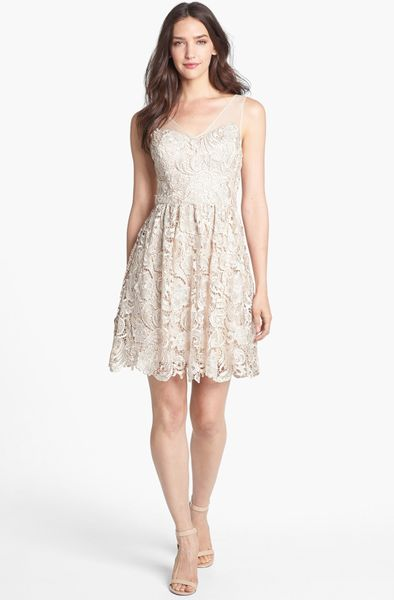 Adrianna Papell Lace Fit Flare Dress In Gold Champagne