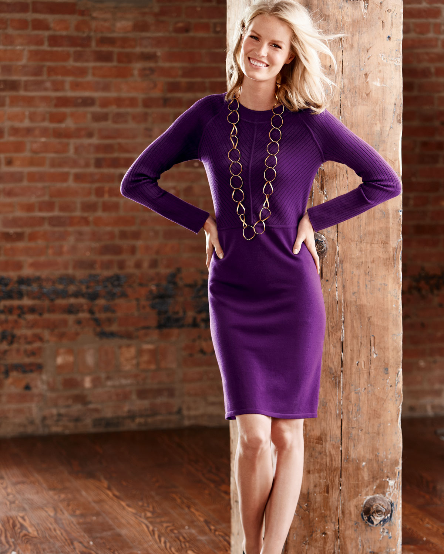 Adrienne Vittadini Wool Dress In Iris Purple Purple Lyst