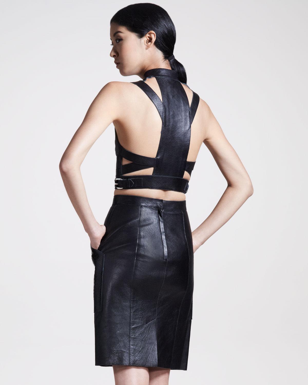wang womens embossedpocket leather skirt in