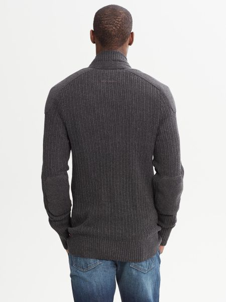 Banana Republic Heritage Moto Sweater Jacket In Gray For