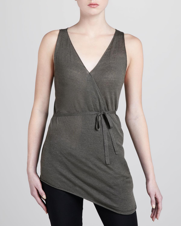 b0afa955443f7 Lyst - Donna Karan Sleeveless Linen Cashmere Wrap Top in Green
