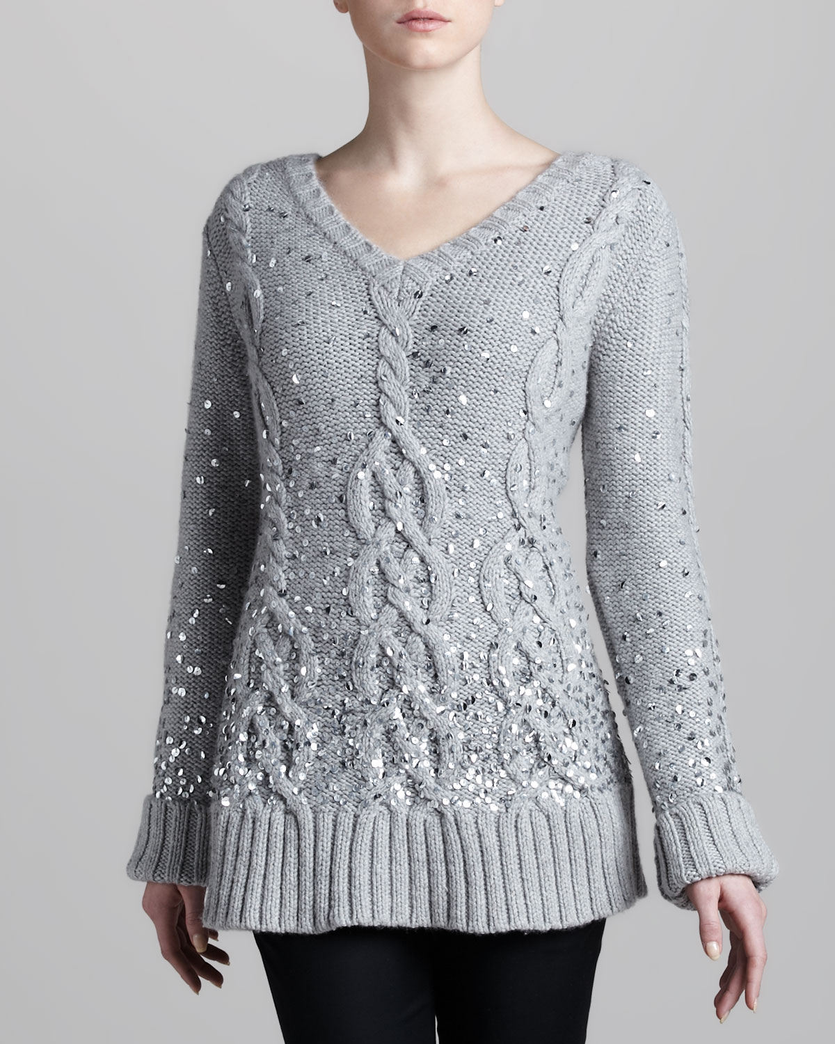 Donna karan Handknit Sequined Cable Sweater in Metallic | Lyst