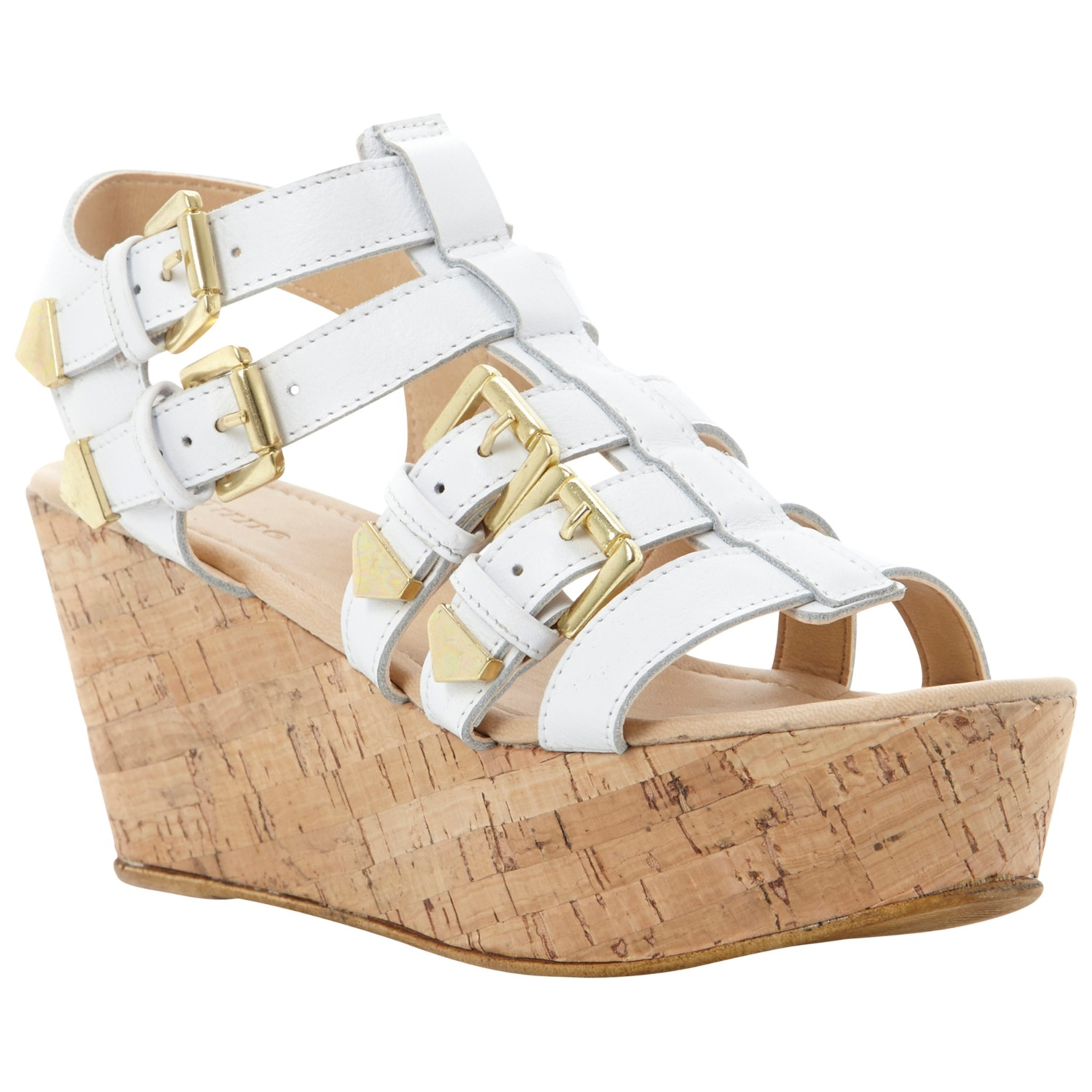 dune grap wedge sandals in white lyst