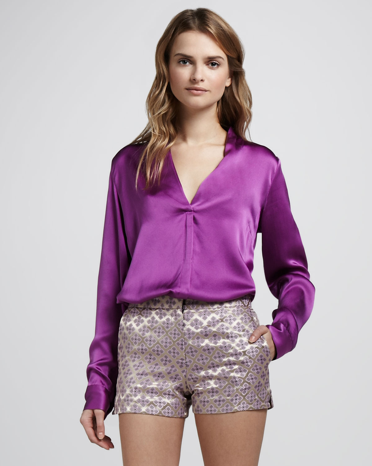 Elizabeth and james Mirta Satin Blouse in Purple
