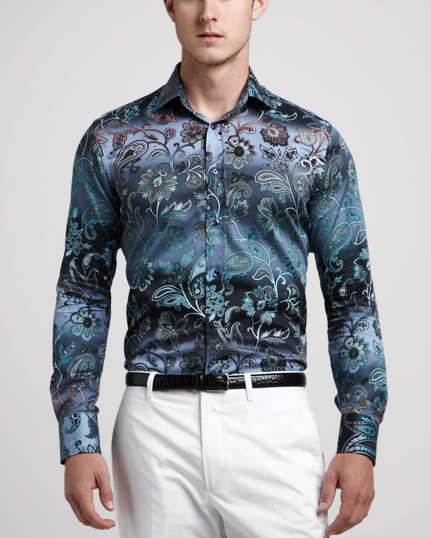 Lyst etro paisleyfloral sport shirt for men for Etro men s shirts