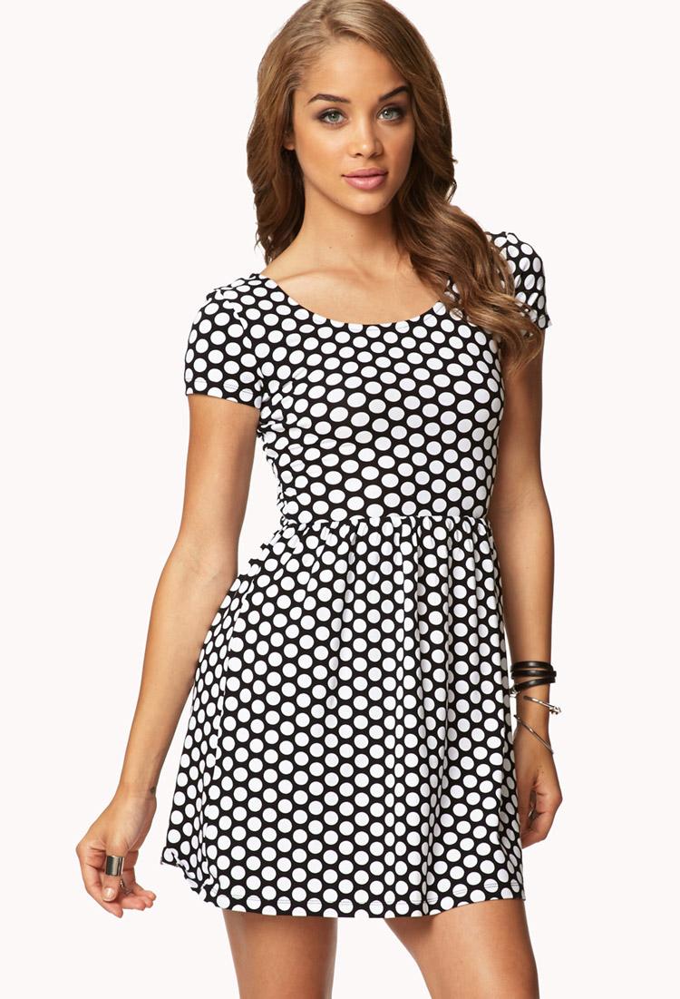 e883bfcfdc1f Lyst - Forever 21 Polka Dot Baby Doll Dress in White