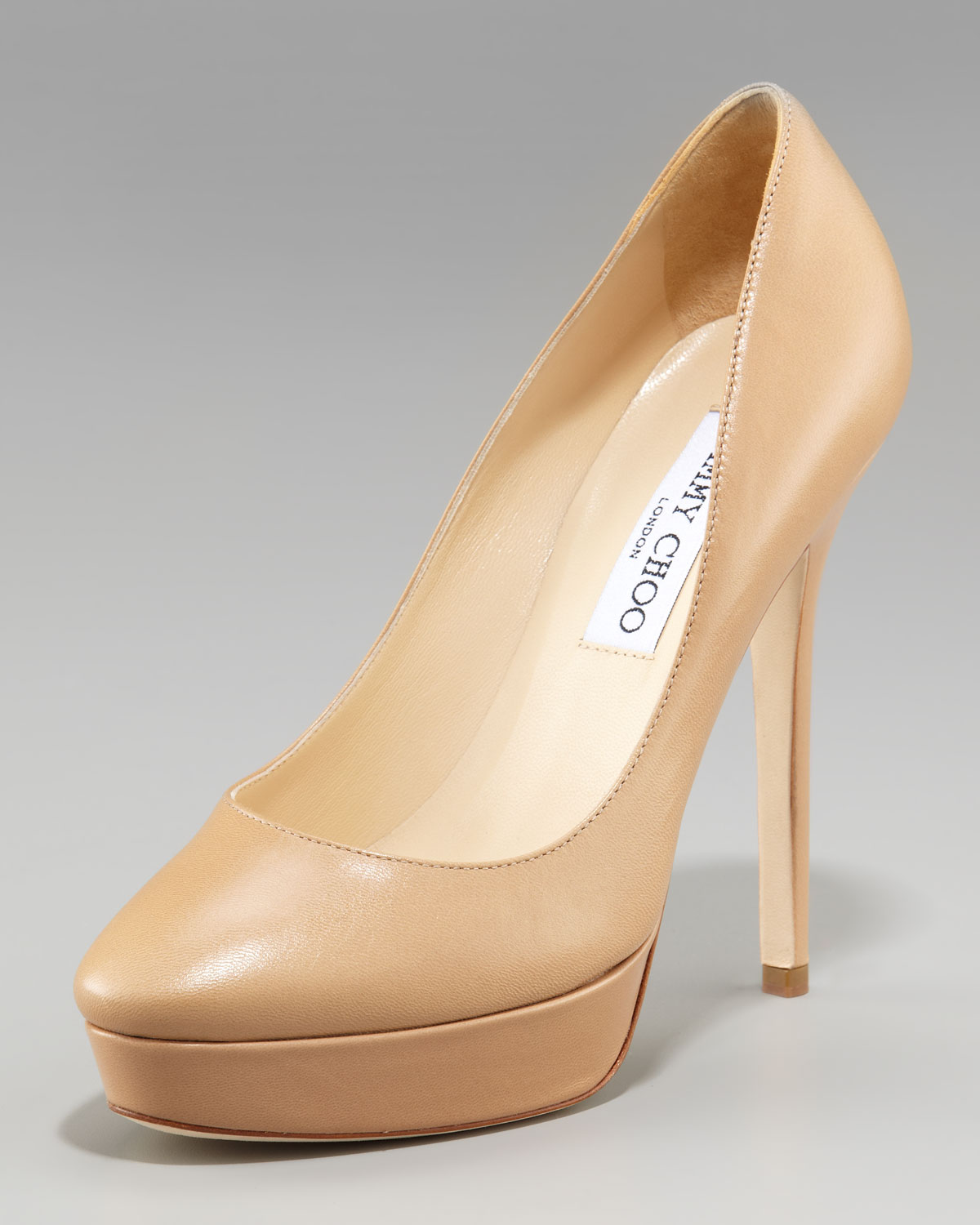 742f4aa3f92 Lyst - Jimmy Choo Cosmic Leather Platform Pump in Natural