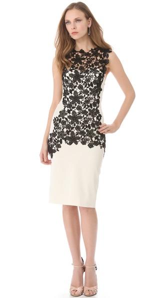 Lyst Lela Rose Lace Applique Bustier Dress In White