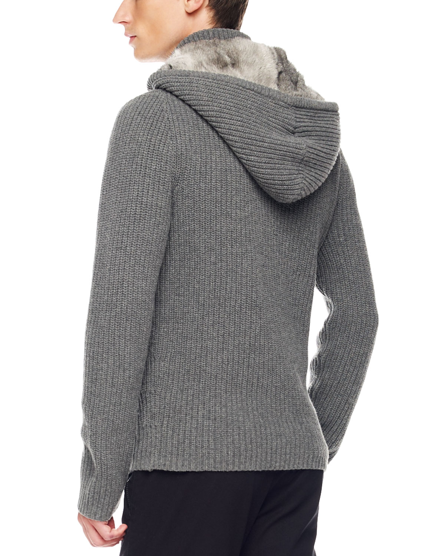 Michael Kors Rabbit Fur Lined Hoodie In Ash Gray For Men -1494