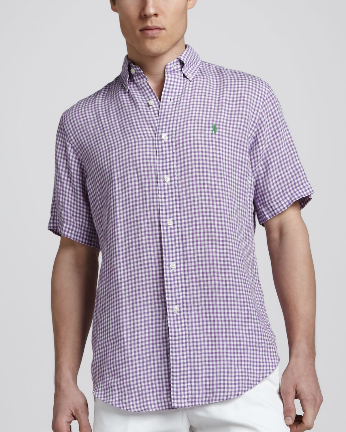 Polo ralph lauren Gingham Shortsleeve Linen Shirt Purple in Purple ...
