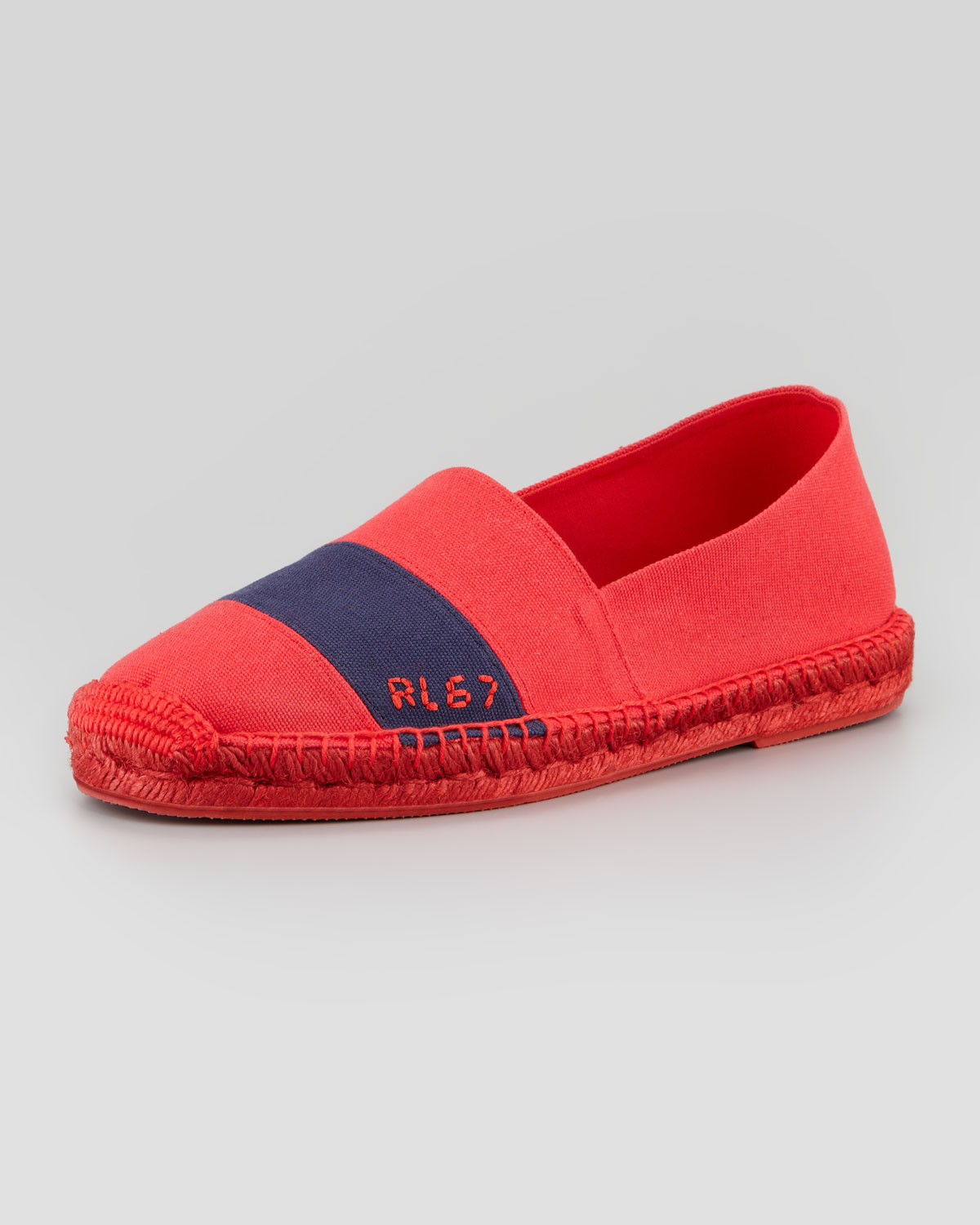 ralph lauren rl67 striped canvas espadrille red in red lyst. Black Bedroom Furniture Sets. Home Design Ideas