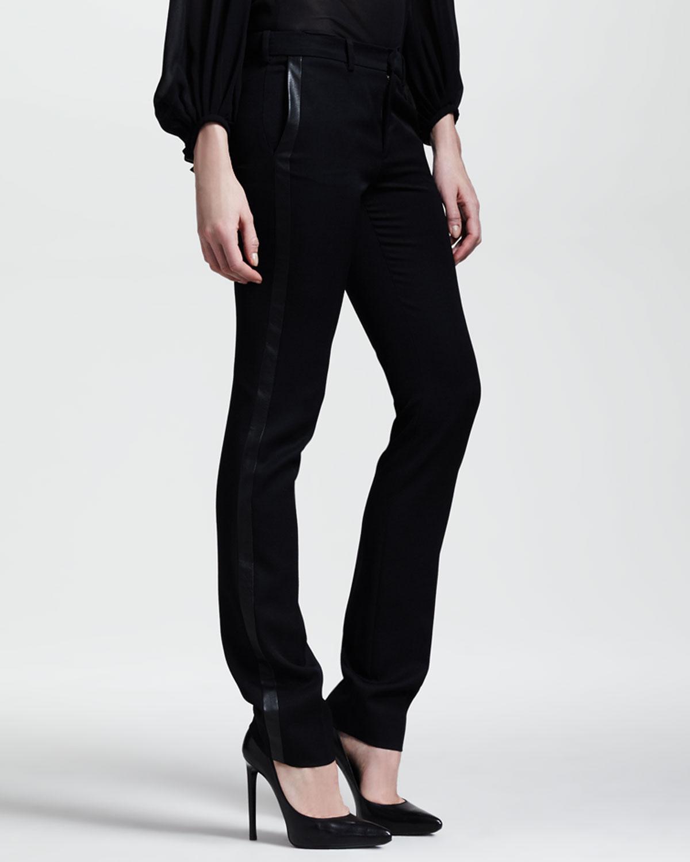 Saint laurent Womens Leathertrim Tuxedo Pants in Black | Lyst