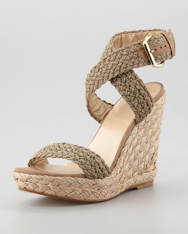 Stuart Weitzman Leather Alex Crochet Espadrille Sandal In