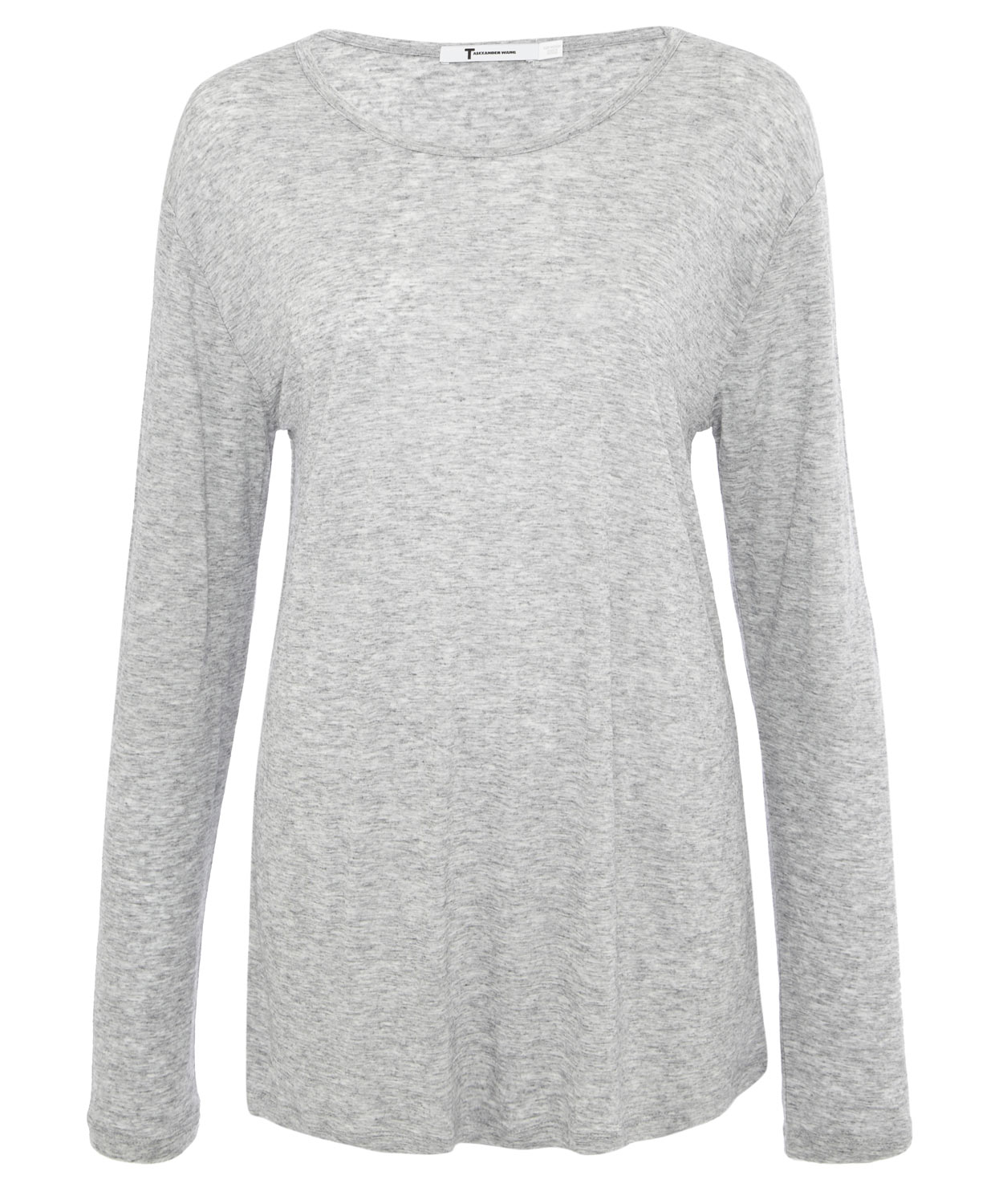 83fdb7636a8e8c T By Alexander Wang Grey Marl Long Sleeve Top in Gray - Lyst