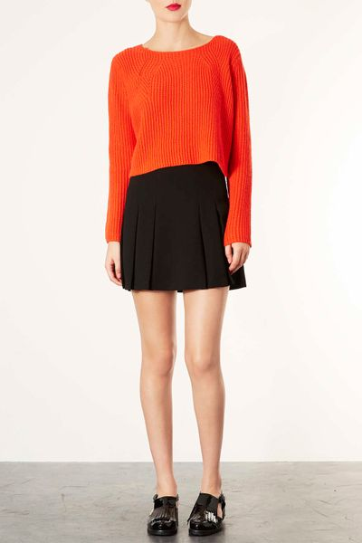 topshop black pleated mini skirt in black lyst