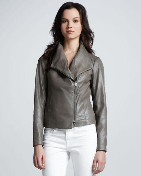 Vince Leather Scuba Shawlcollar Jacket In Gray Black Lyst