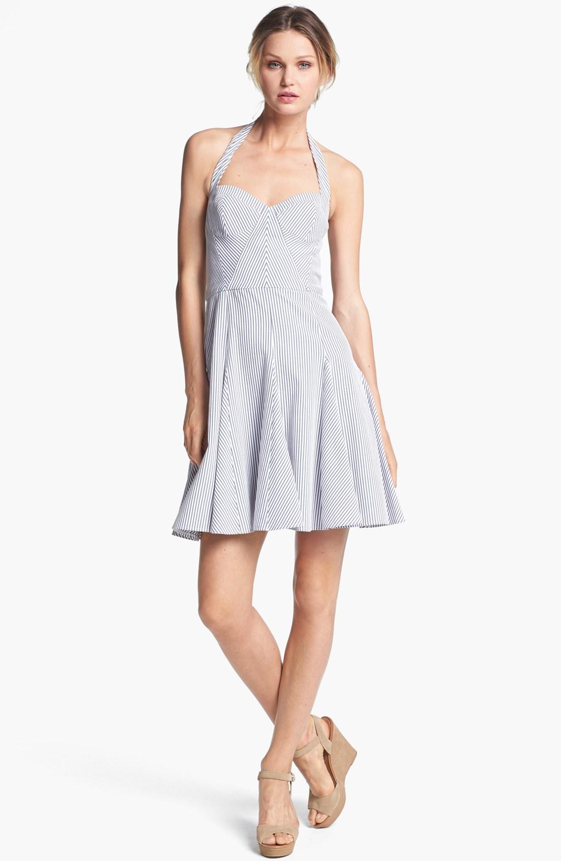 Betsey Johnson Halter Fit Flare Dress In White White
