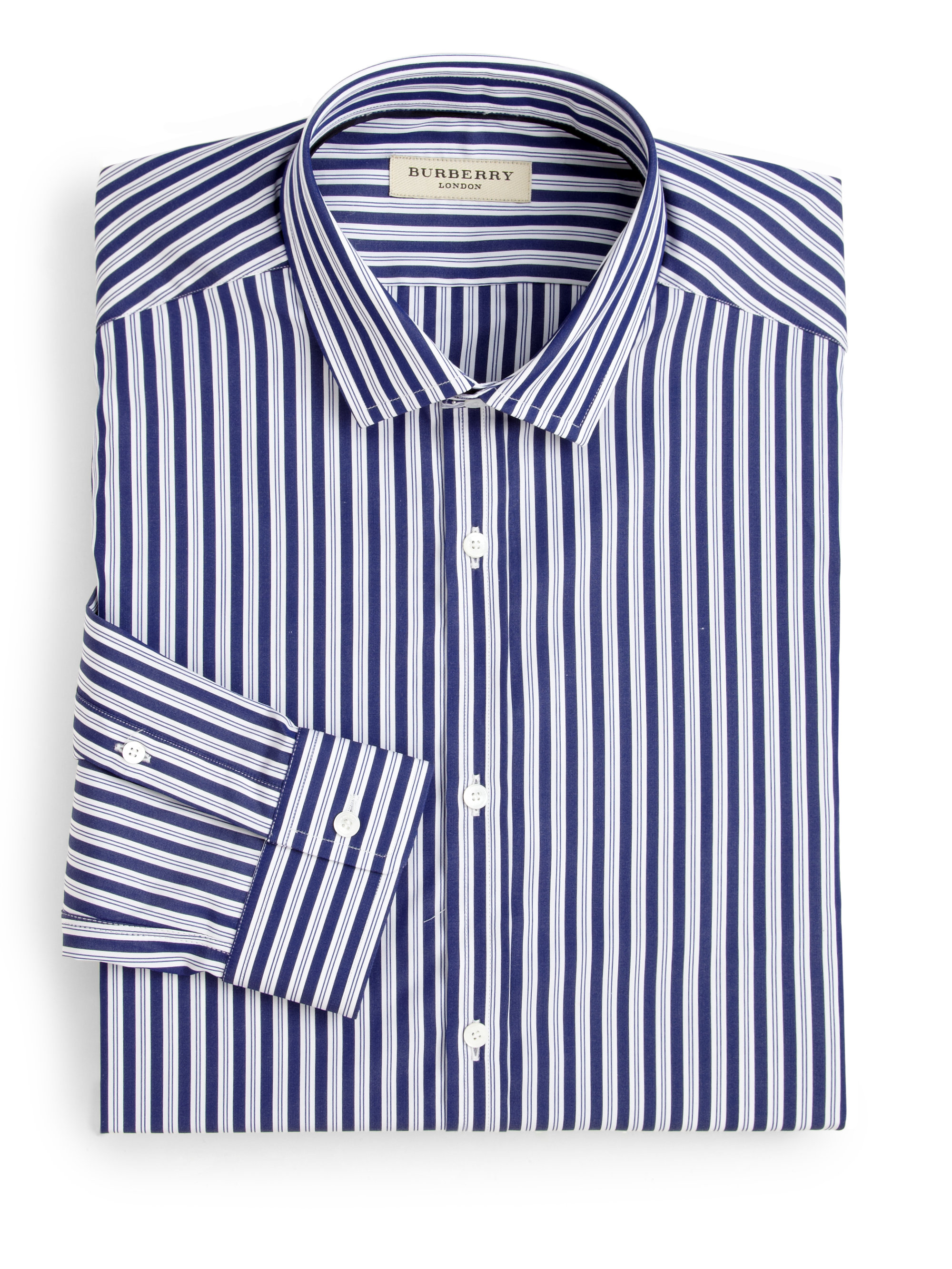 burberry halesforth striped dress shirt in blue for men lyst