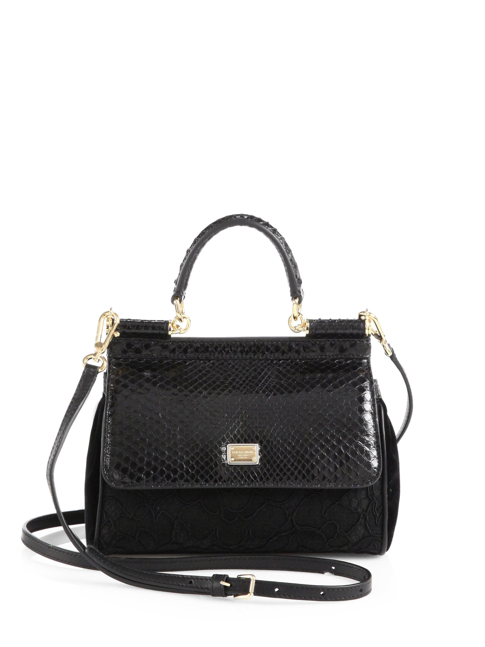 f415457c61 Lyst - Dolce   Gabbana Sicily Mixedmedia Mini Top Handle Bag in Black