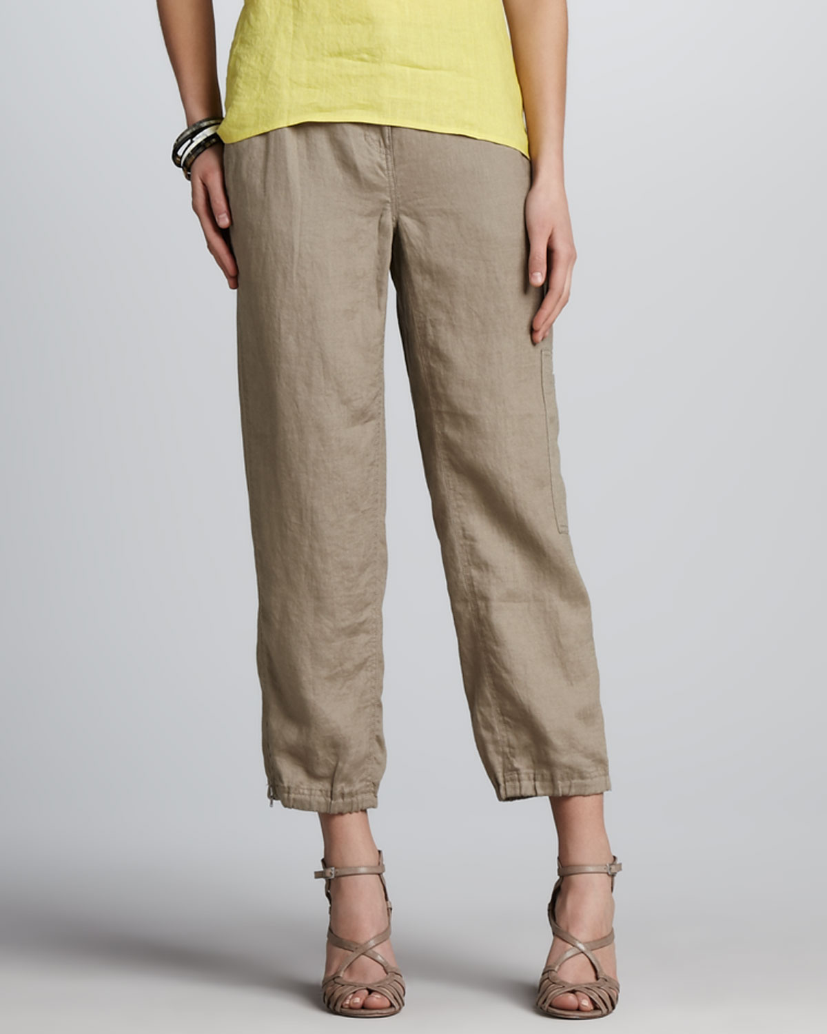 Eileen fisher Linen Ankle Cargo Pants Driftwood in Natural | Lyst