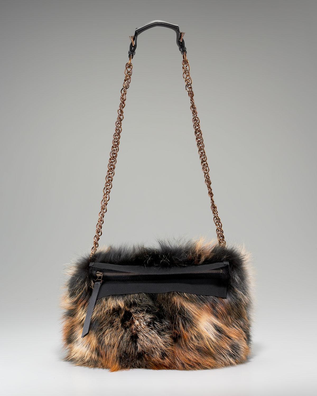 e9b5c9c927 Lyst - Lanvin Fur Trousse Shoulder Bag in Brown