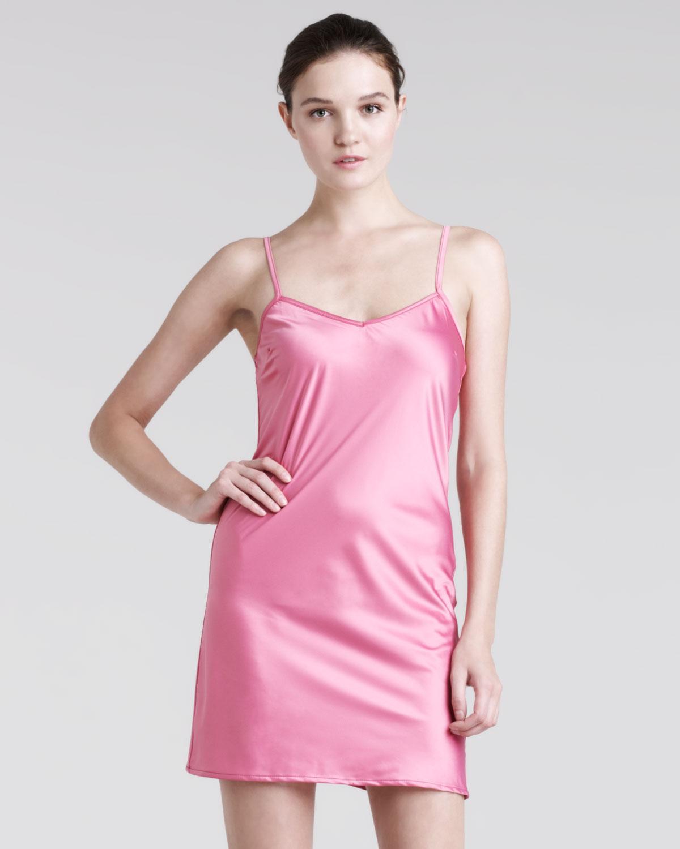 Balmain V Neck Satin Slip In Pink