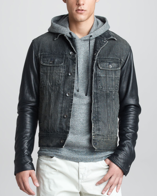 4bc7719bb Rag & Bone Black Leather Sleeve Denim Jacket for men