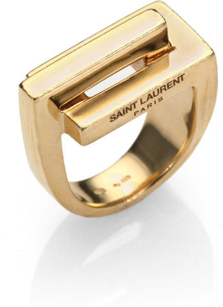 Saint Laurent 18k Yellow Gold Over Sterling Silver Ring in Gold