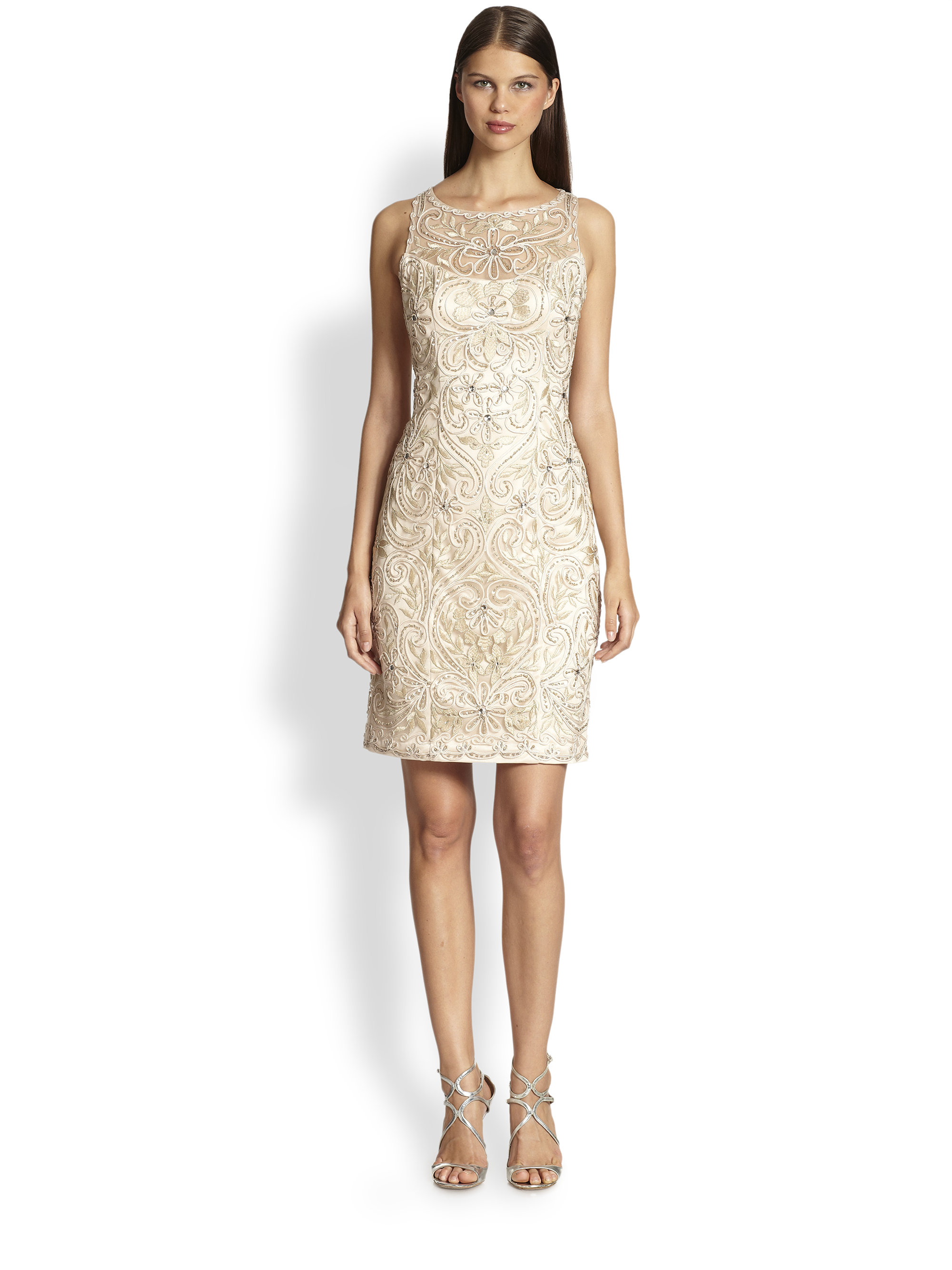 Sue Wong Beaded Embroidery Illusion Dress In Champagne