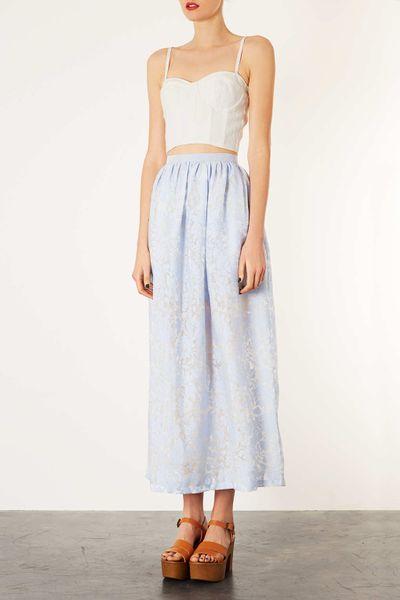 topshop organza maxi skirt in blue pale blue lyst