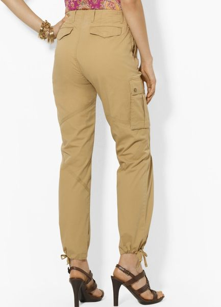 Simple Ralph Lauren Blue Label Twill Cargo Pants In Natural  Lyst