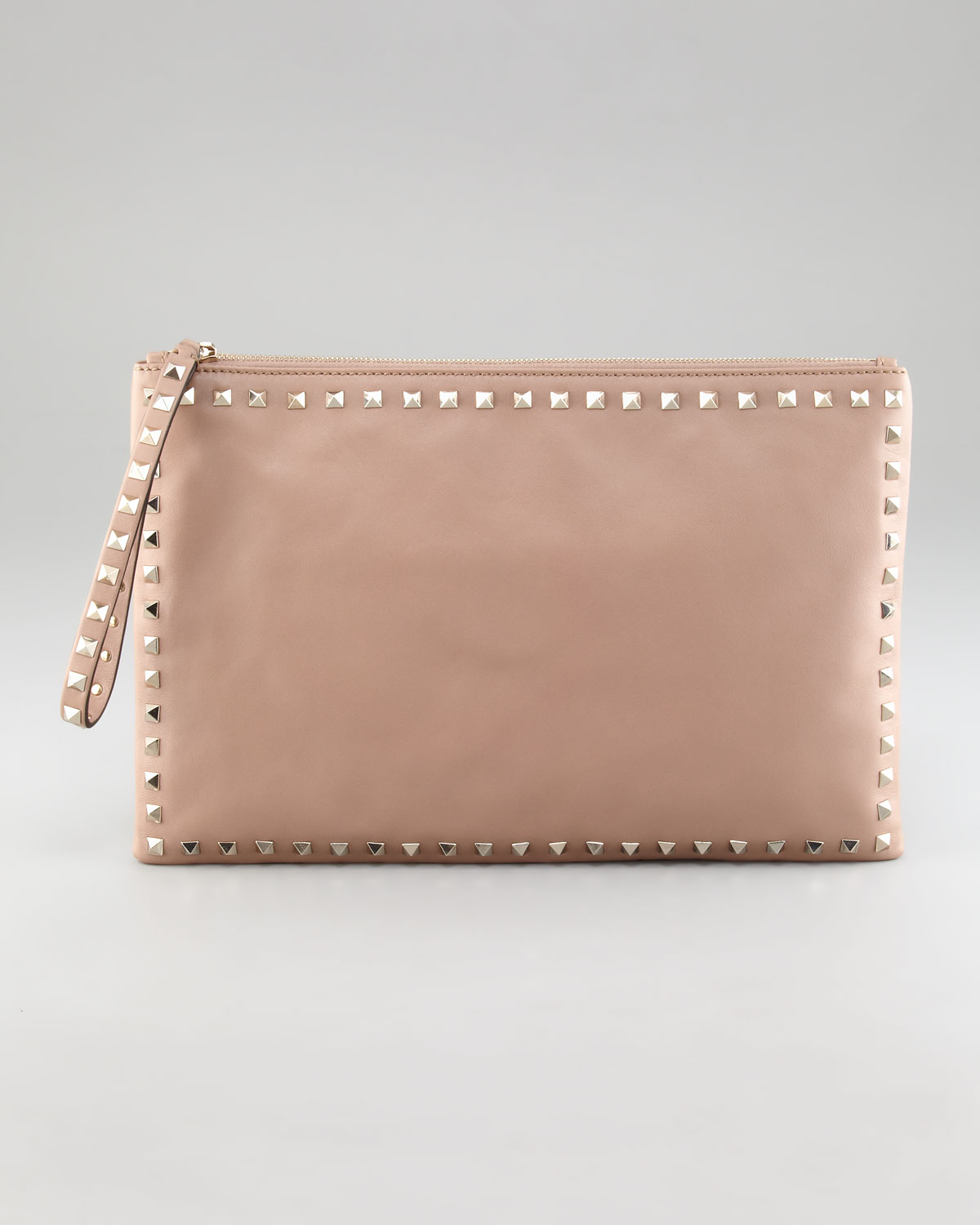 Valentino Womens Rockstud Leather Clutch Bag in Pink | Lyst