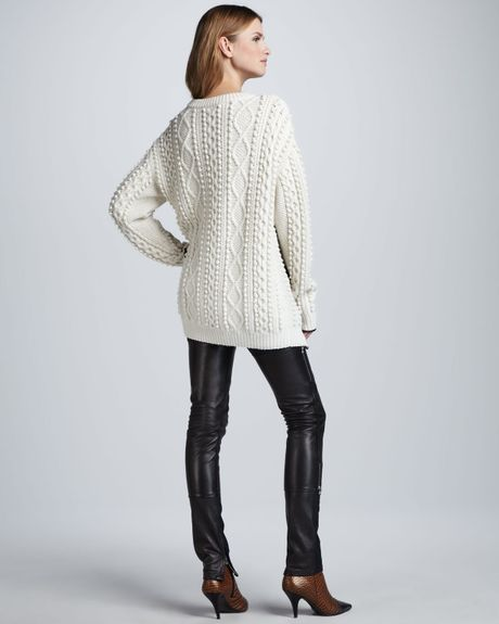 3 1 Phillip Lim Oversized Cable Knit Pullover Ivory In