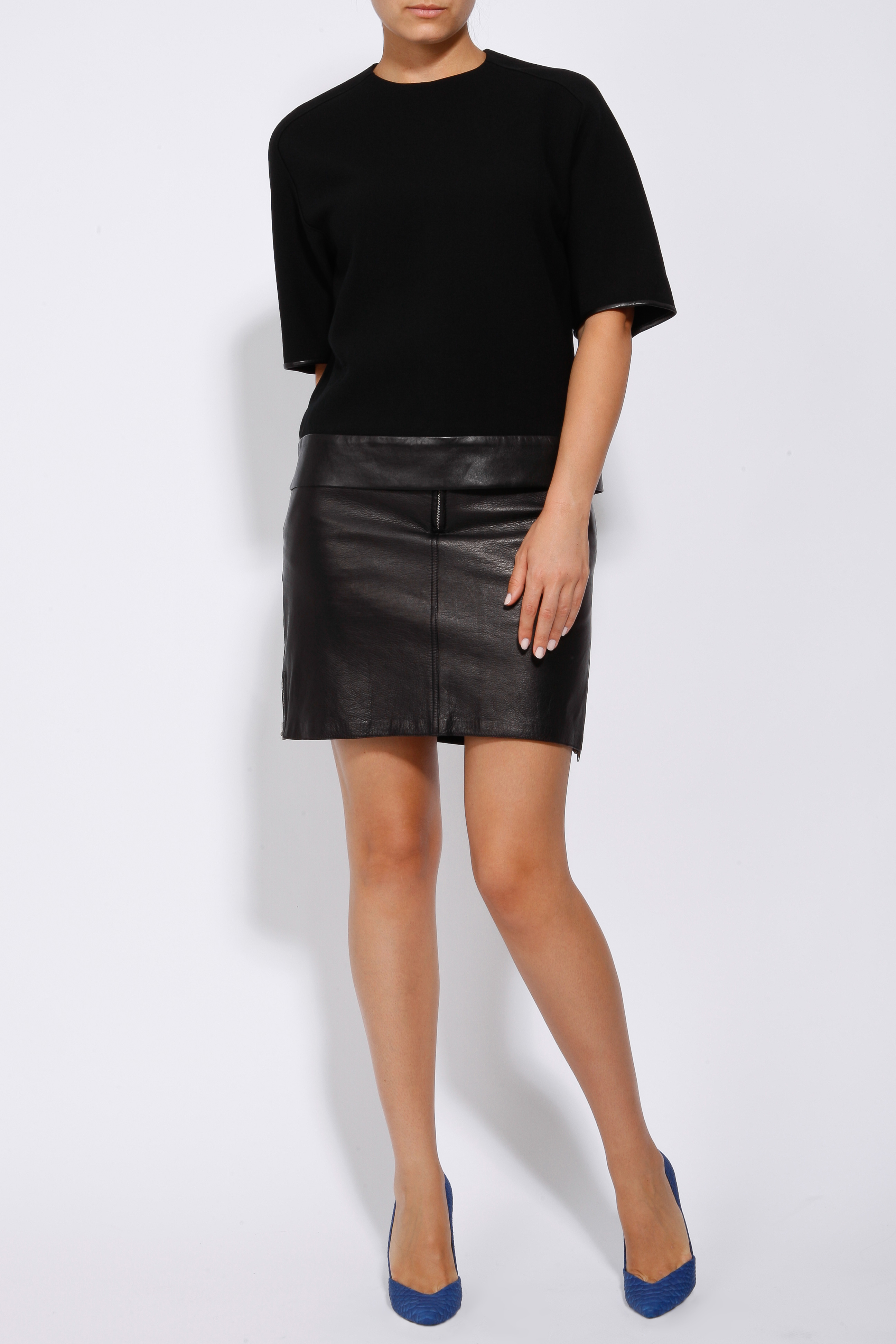 3 1 phillip lim leather combo pencil skirt in black lyst