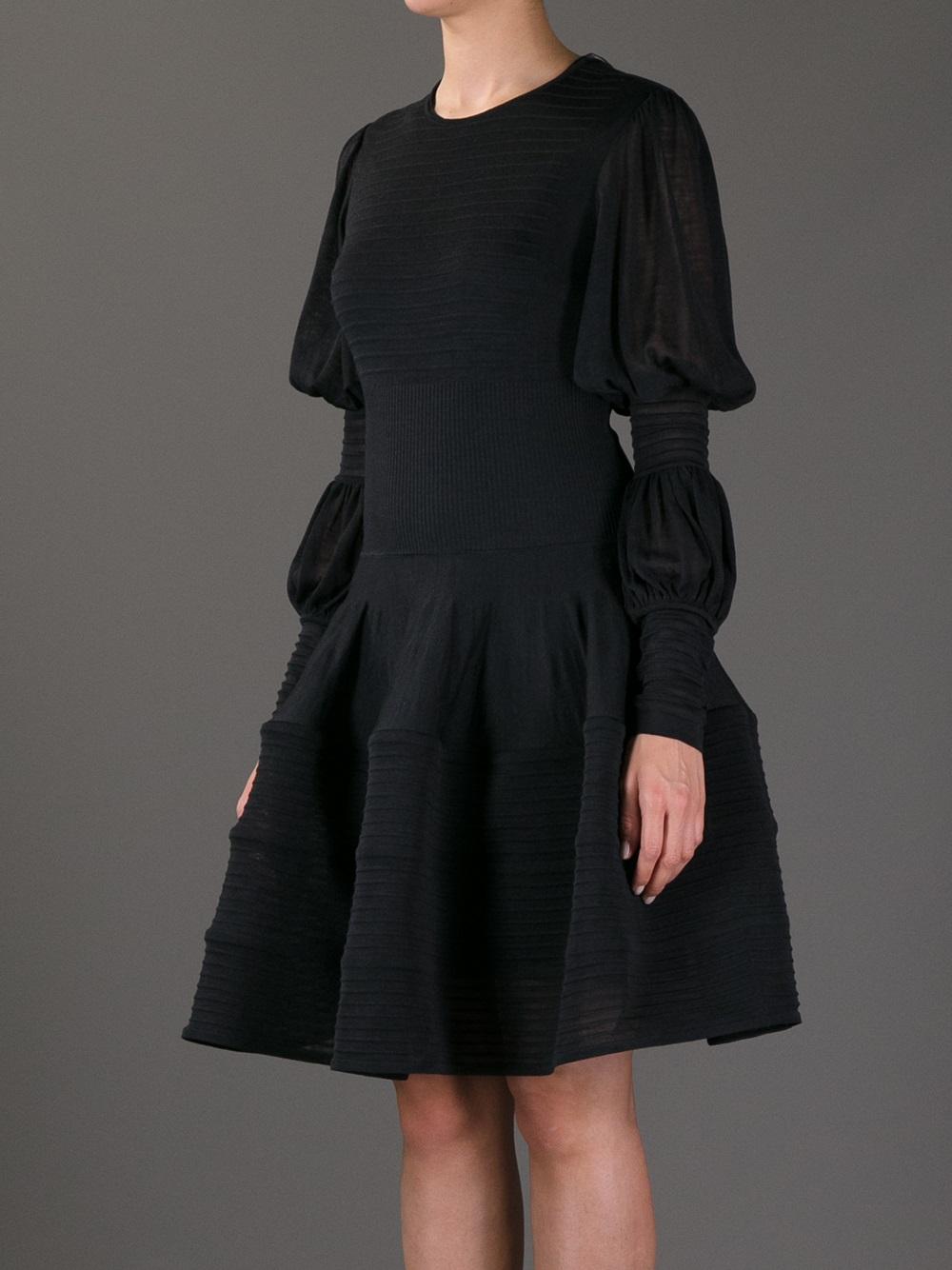 Lyst Alexander Mcqueen Semi Sheer Ribbed Dress In Black