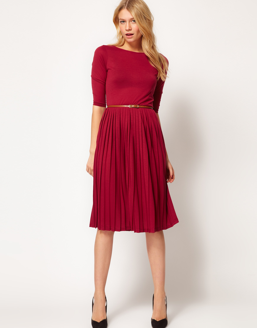 Asos Asos Midi Dress With Pleated Skirt In Red Lyst