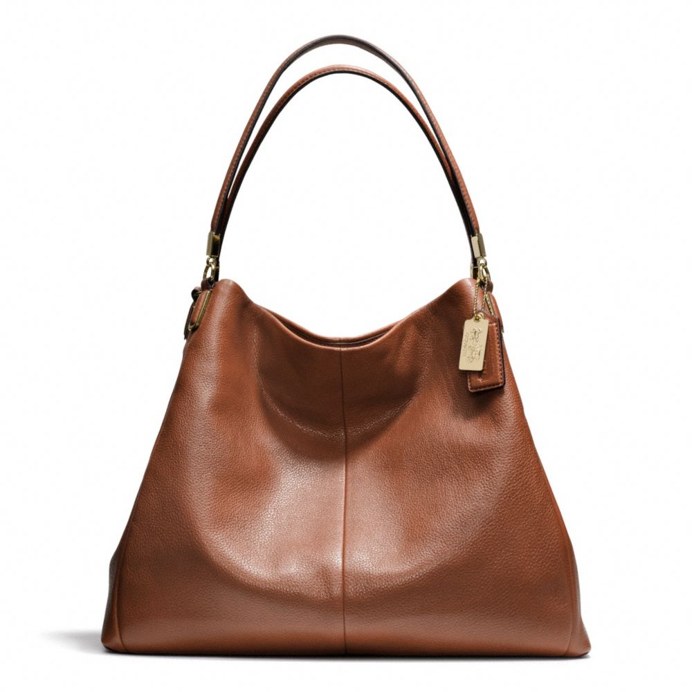 coach madison leather phoebe shoulder bag in brown lyst. Black Bedroom Furniture Sets. Home Design Ideas