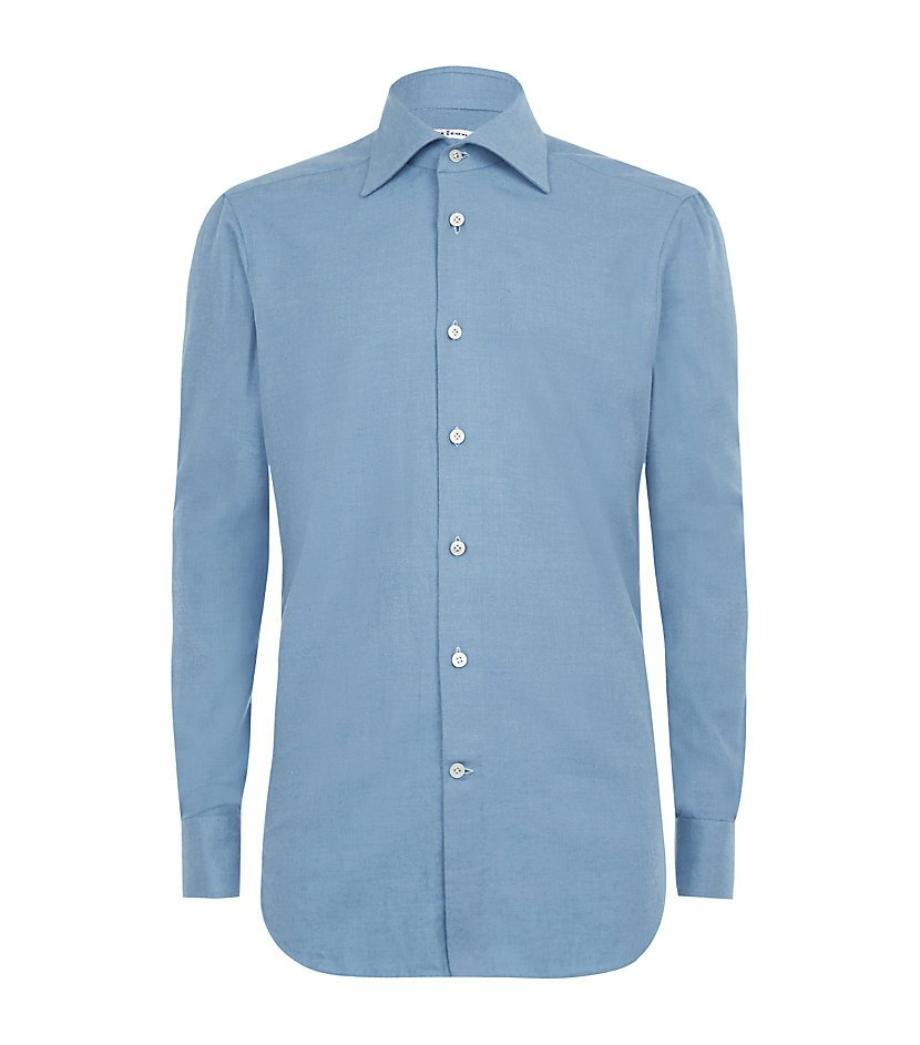 Kiton Brushed Twill Shirt In Blue For Men Lyst