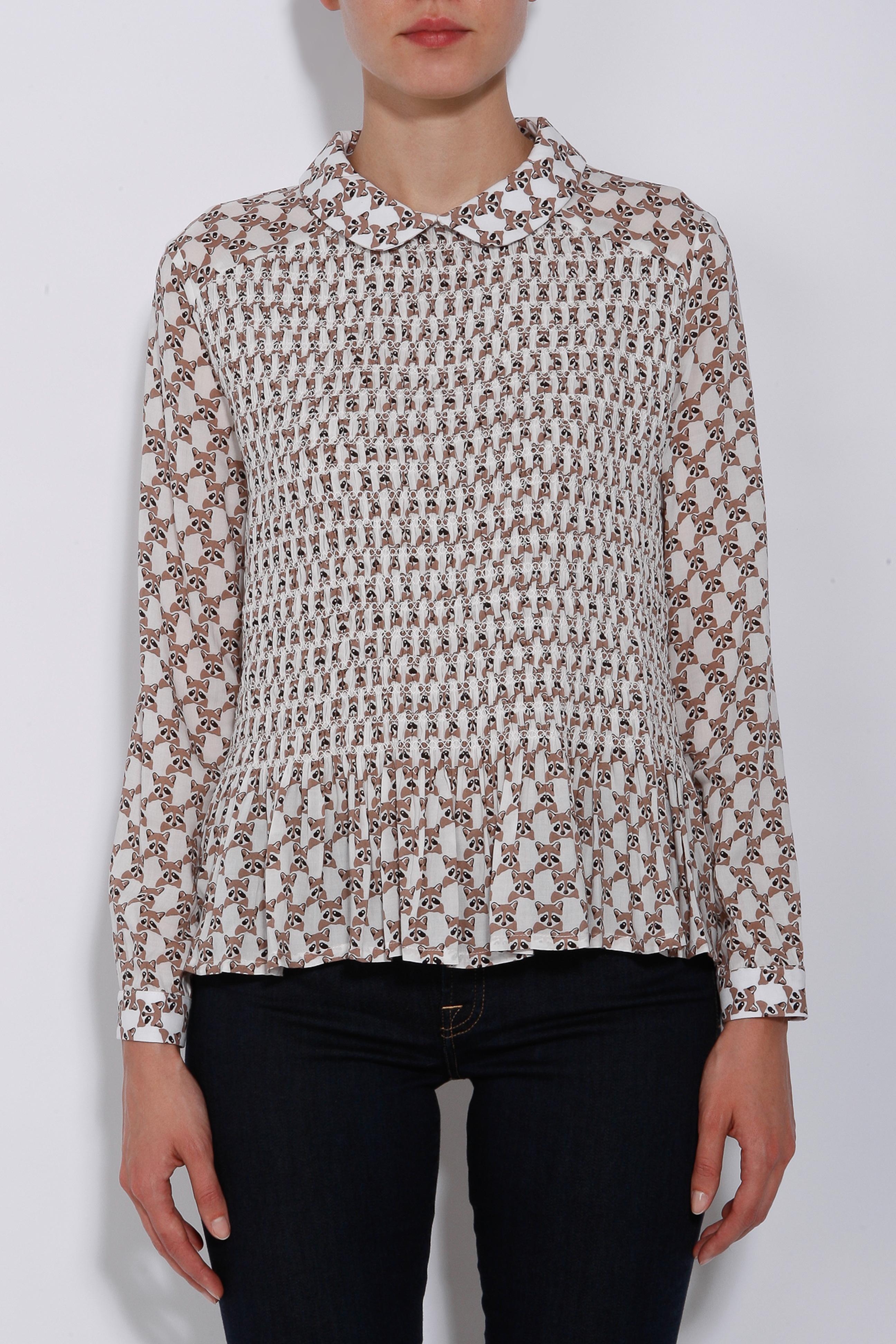 paul u0026 joe smocked raccoon print blouse in white lyst
