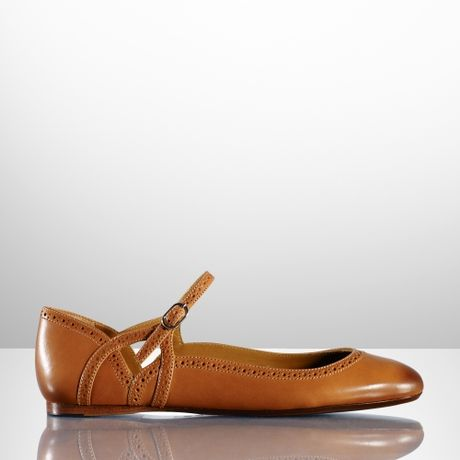 ralph lauren collection unita calf ballet flat in brown tan lyst. Black Bedroom Furniture Sets. Home Design Ideas