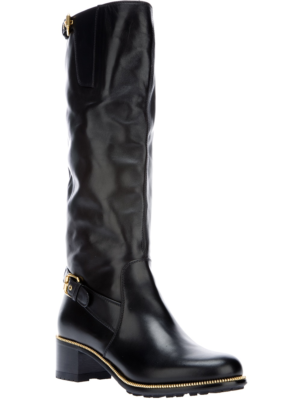 sergio rossi buckled knee high boot in black lyst. Black Bedroom Furniture Sets. Home Design Ideas