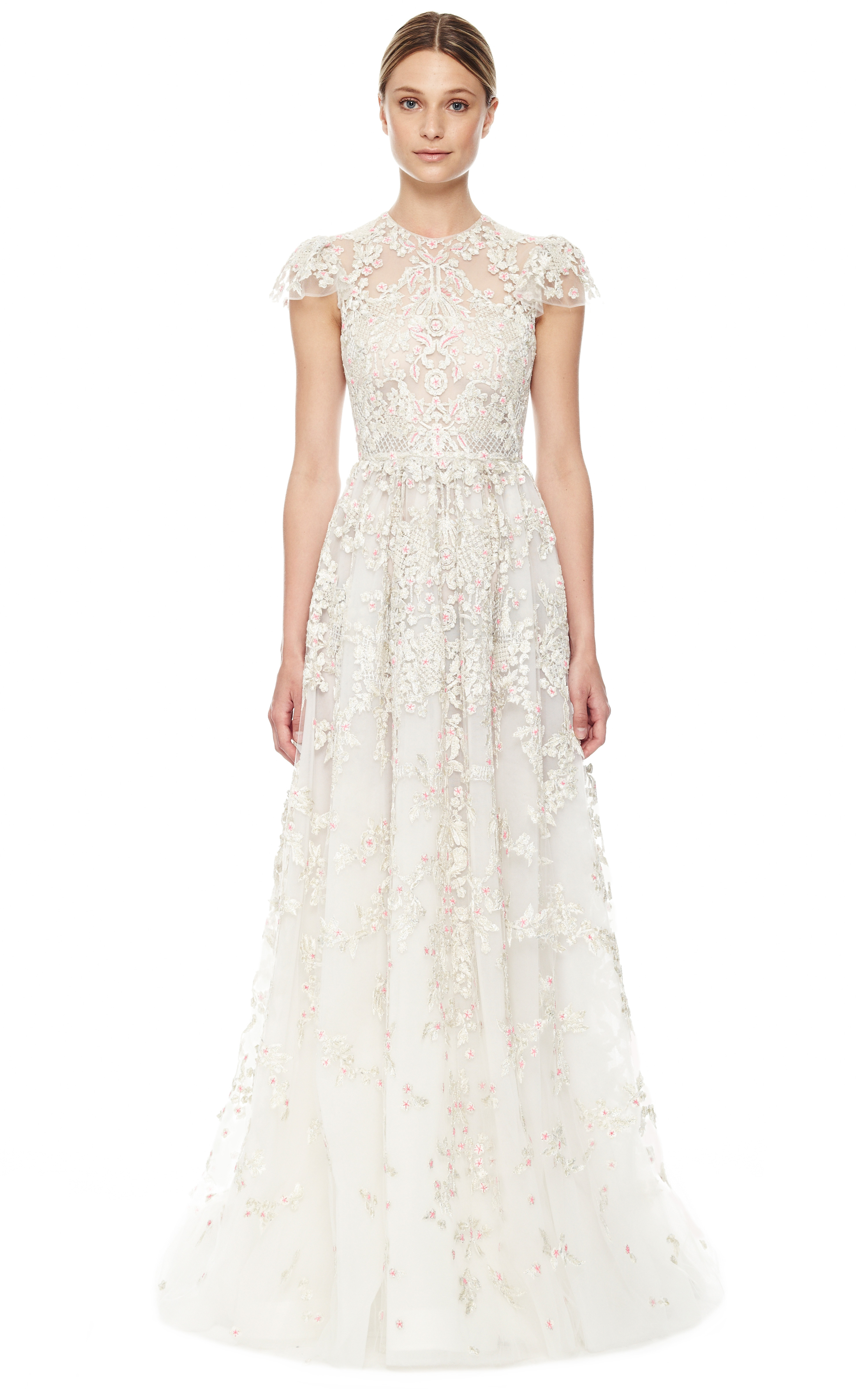 Valentino avorio multi tulle illusione gown in white lyst for Valentino short wedding dress