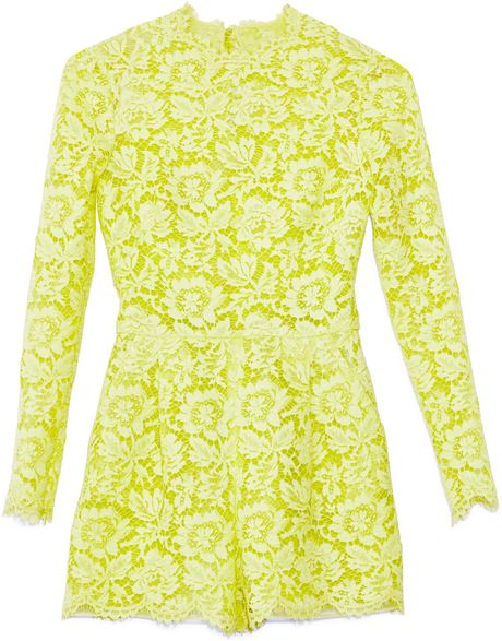 Valentino Citron Heavy Lace Jumpsuit in Yellow (Citron)