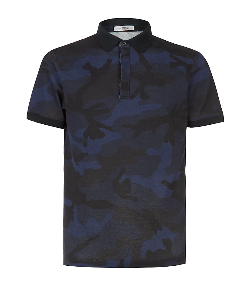 Valentino camouflage print polo shirt in blue for men lyst for Camo polo shirts for men