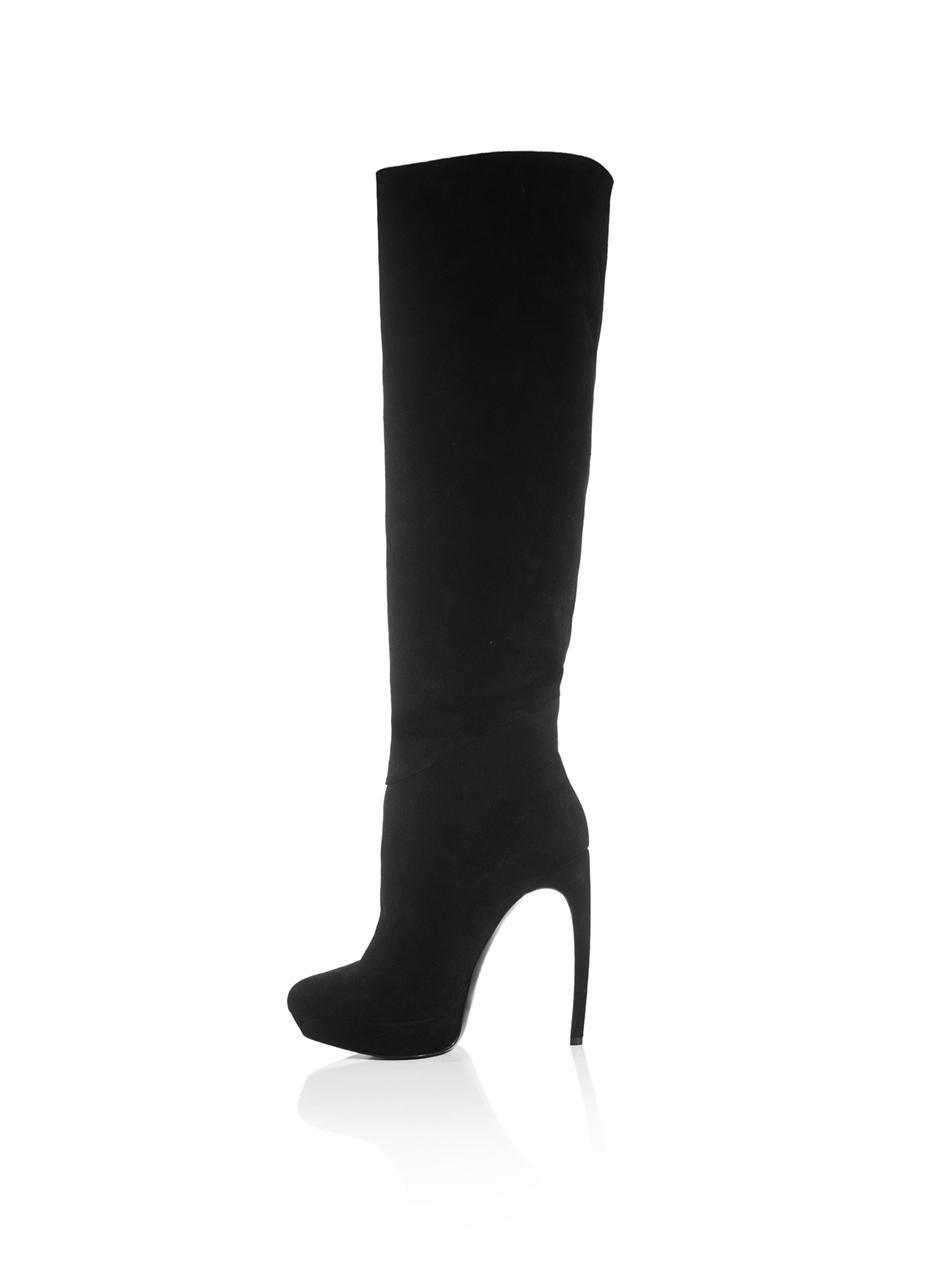 Alexander mcqueen Suede Knee High Boots in Black | Lyst