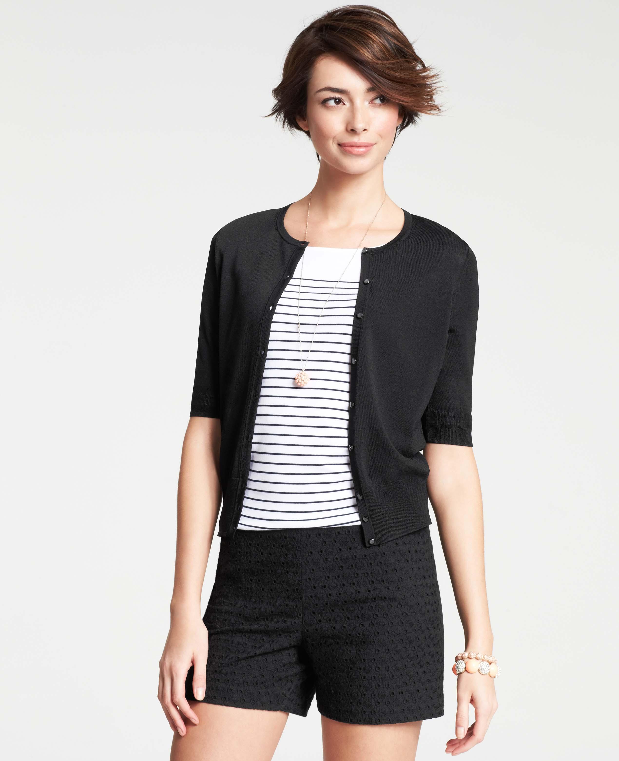 Ann taylor Crew Neck Short Sleeve Cardigan in Black | Lyst