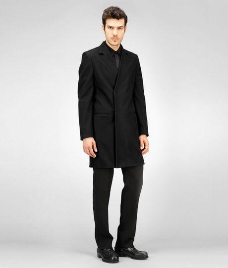 Bottega Veneta Nero Soft Wool Cashmere Coat In Black For